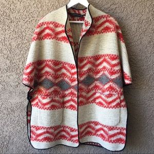 Zara Blanket Poncho Coat Wool Mix Tribal Knit M